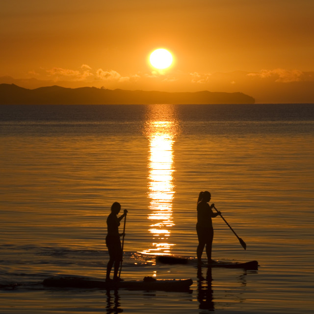"""Paddleboards at sunrise"" stock image"