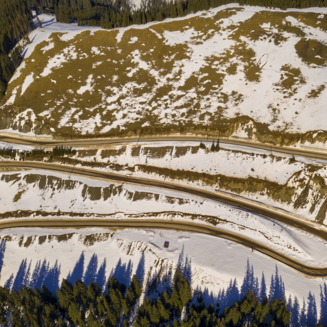 """""""Aerial view of winding mountain road"""" stock image"""