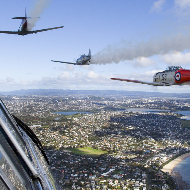 """Harvard flypast over Auckland, New Zealand"" stock image"