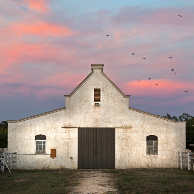 """""""Old Horse Stables at Sunrise"""" stock image"""