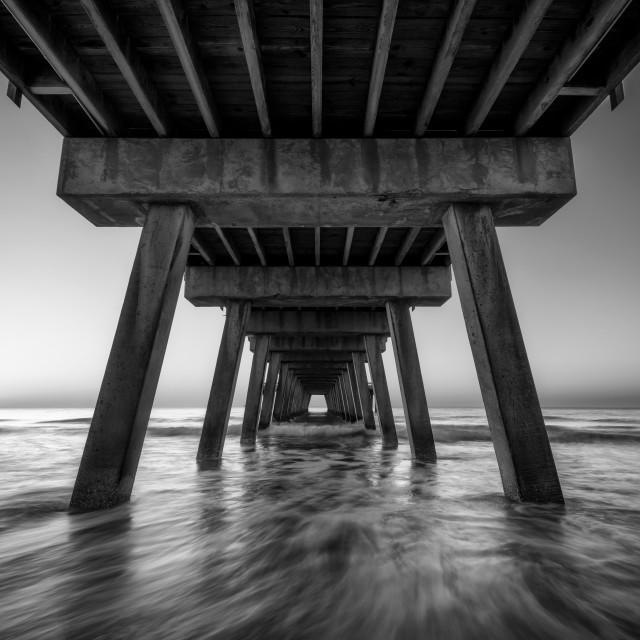 """Oceanfront Morning Black and White"" stock image"