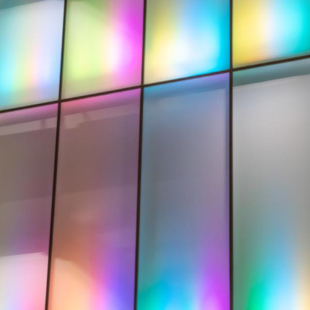 """""""iridescence - neon facade - bangkok"""" stock image"""