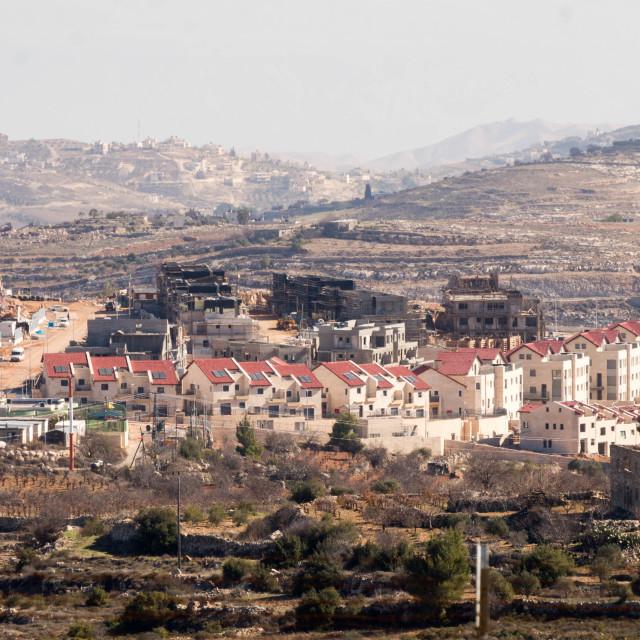 """Construction of Israeli settlement"" stock image"