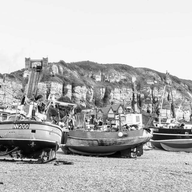 """""""Hastings Fishing Fleet"""" stock image"""