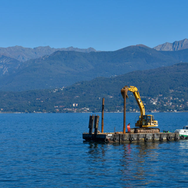 """Working on Lake Maggiore"" stock image"