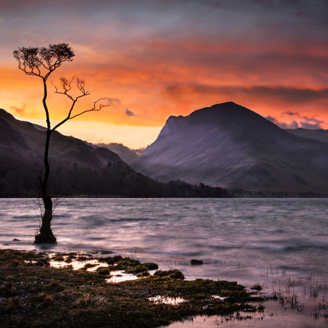 """""""Winter Dawn over Buttermere"""" stock image"""