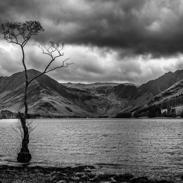 """""""Grim weather over Buttermere"""" stock image"""
