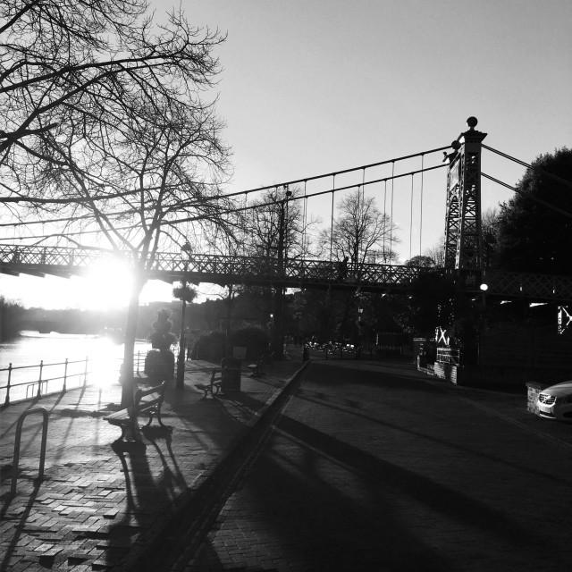 """Suspension bridge, Chester."" stock image"