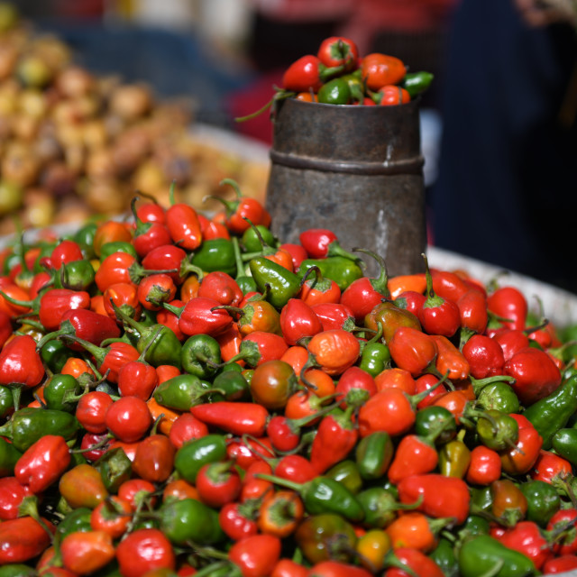 """Chilli in the market"" stock image"