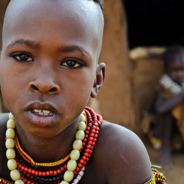 """""""Girls from the Hamer tribe ( Ethiopia)"""" stock image"""
