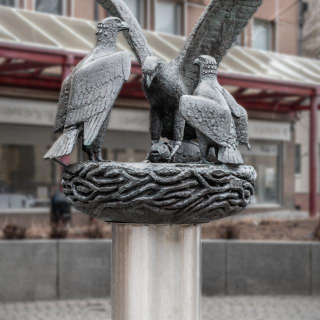 """White Tailed Eagle Statue, Bodo, Norway"" stock image"