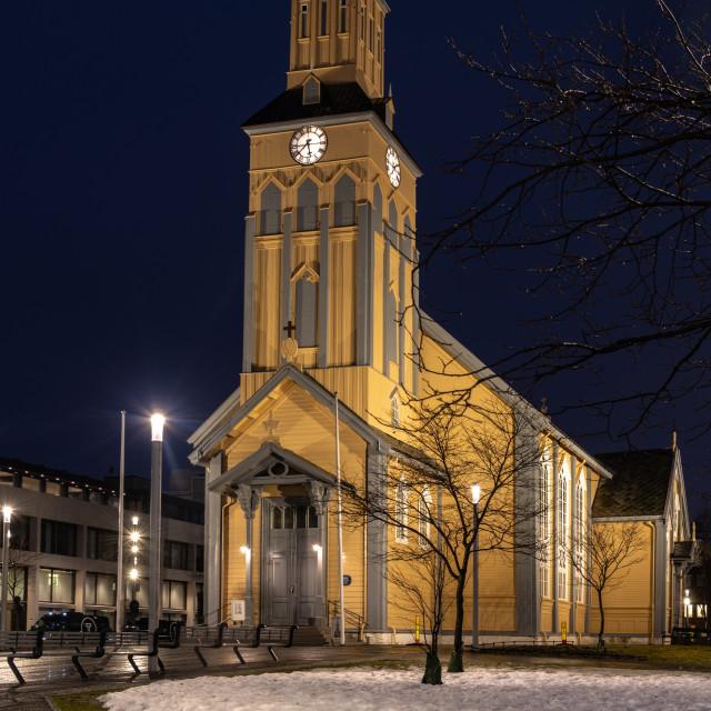 """Tromso Cathedral, Tromso, Norway"" stock image"