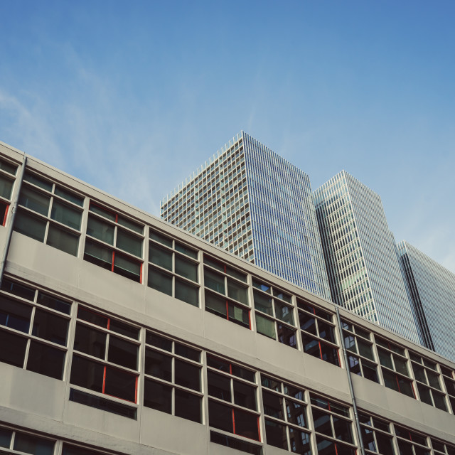 """""""The Rotterdam in contrast to a 60s building"""" stock image"""