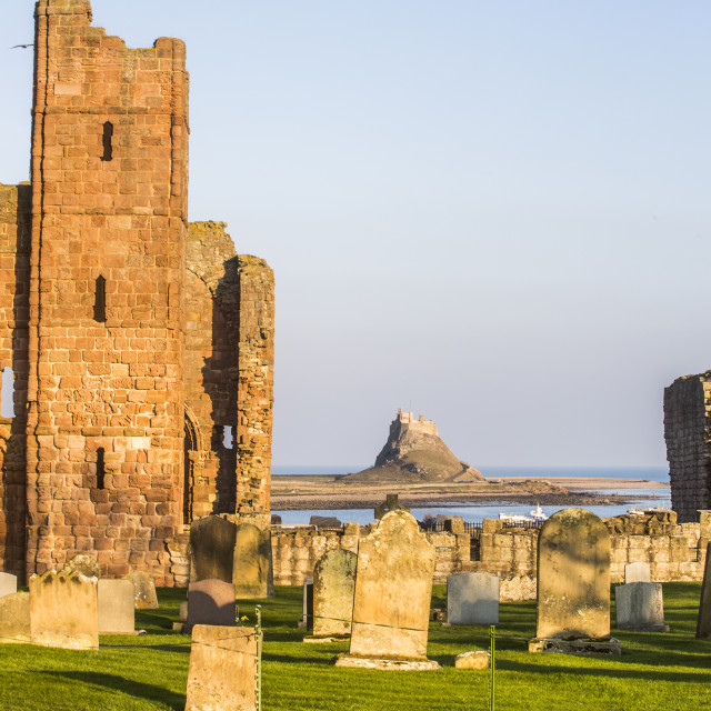 """Holy Island Castle from The Priory,Northumberland."" stock image"