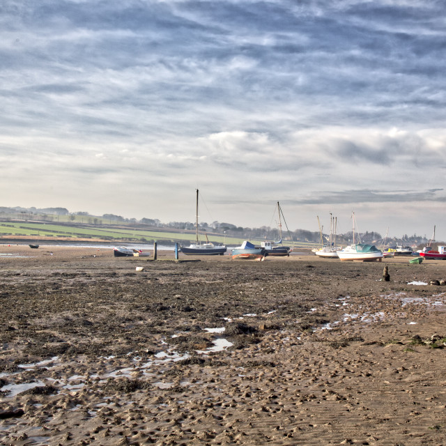"""""""Alnmouth Harbour, Northumberland."""" stock image"""