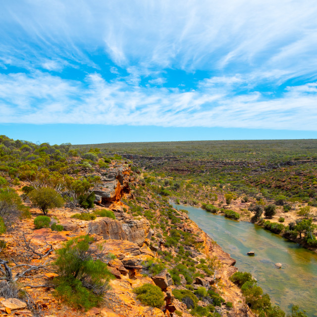 """View from the Hawks Head Lookout in Kalbarri National Park Western Australia"" stock image"