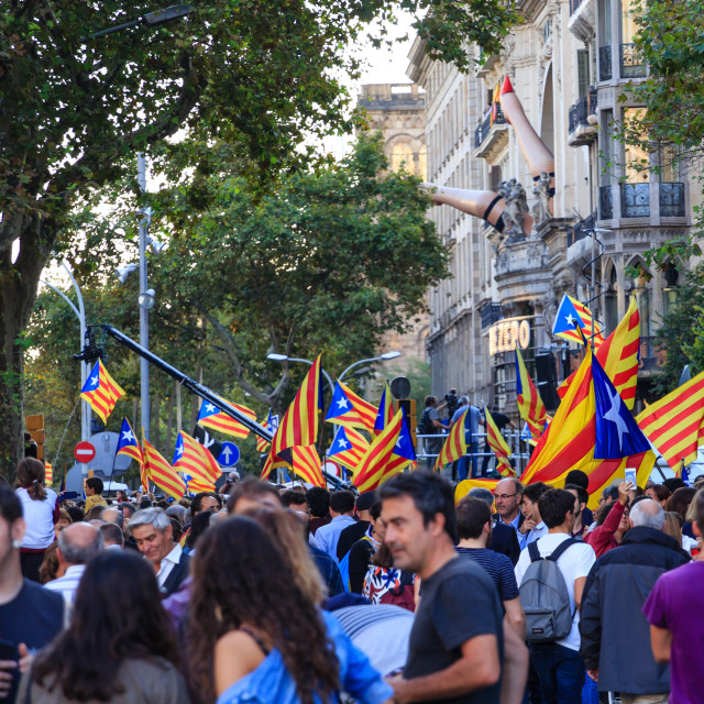 """Catalan Independence Rally in Streets of Barcelona"" stock image"