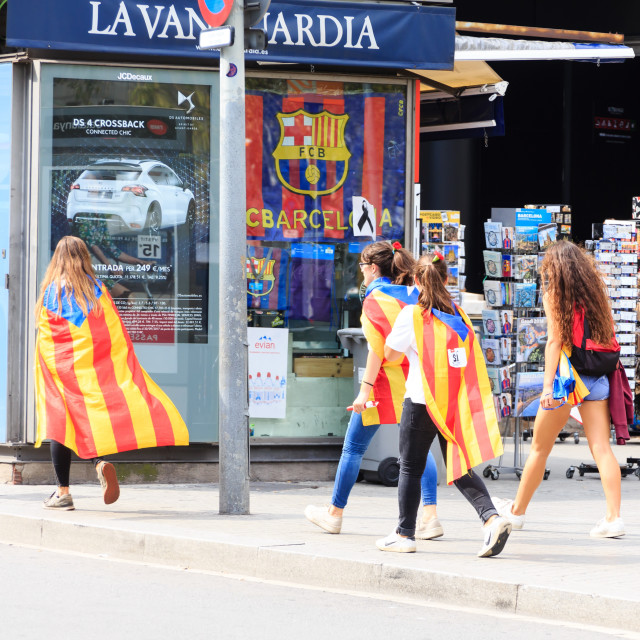 """Women Walking to Catalan Rally"" stock image"