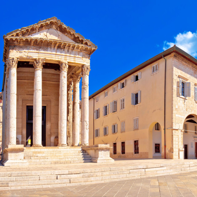 """""""Forum square and historic roman Temple of Augustus in Pula panoramic view"""" stock image"""