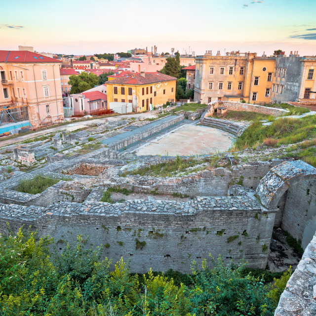 """""""Town of Pula old Roman theater ruins view"""" stock image"""