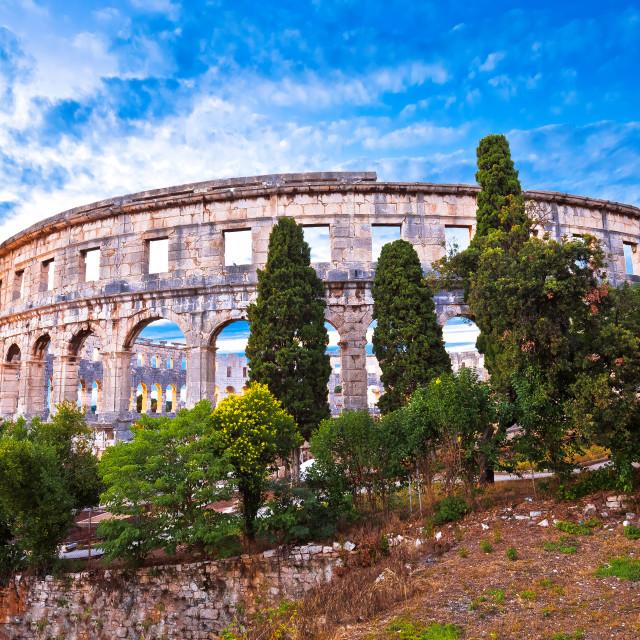"""Arena Pula historic Roman amphitheater panoramc green landscape view"" stock image"
