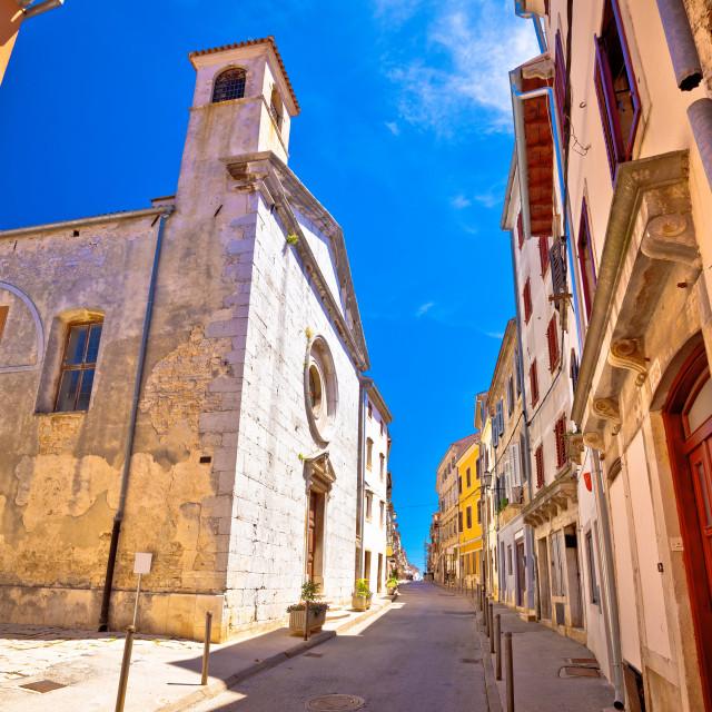 """Mediterranean stone street and church in Vodnjan view"" stock image"