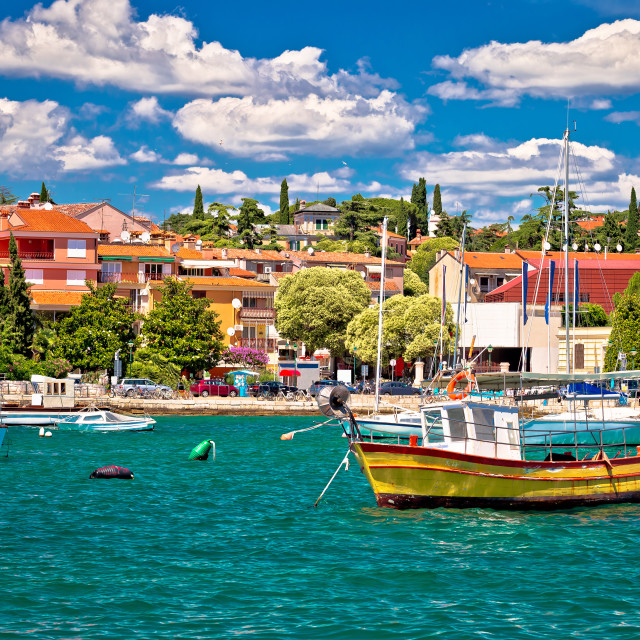 """""""Town of Rovinj colorful waterfront and harbor view"""" stock image"""