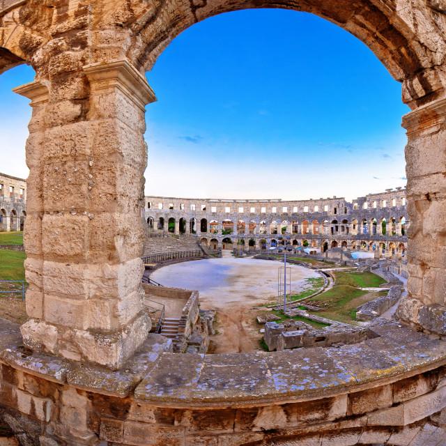 """Arena Pula historic Roman amphitheater view"" stock image"