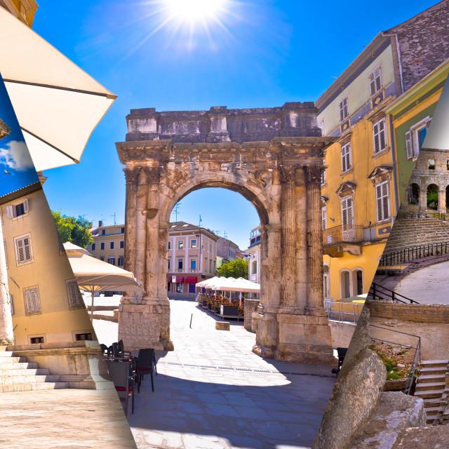 """Town of Pula historic Roman landmarks panoramic collage tourist postcard view"" stock image"