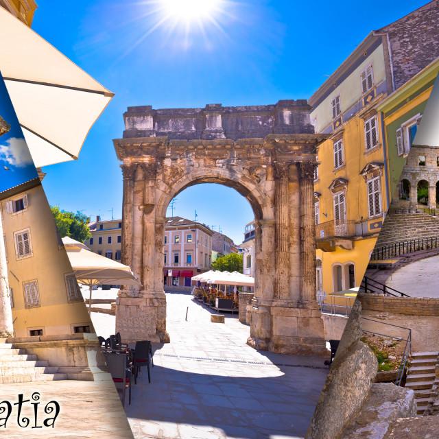 """Town of Pula historic Roman landmarks panoramic collage tourist postcard with..."" stock image"
