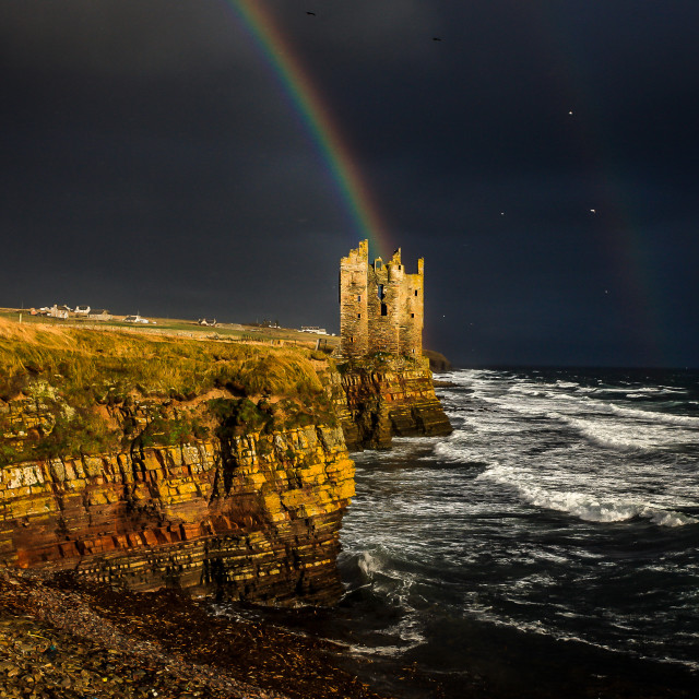 """Rainbow over Keiss Castle"" stock image"