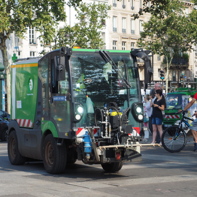 """""""Small cleaining vehicle in Paris, France"""" stock image"""
