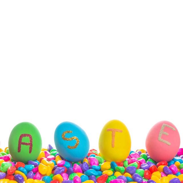 """""""Easter written on eggs"""" stock image"""
