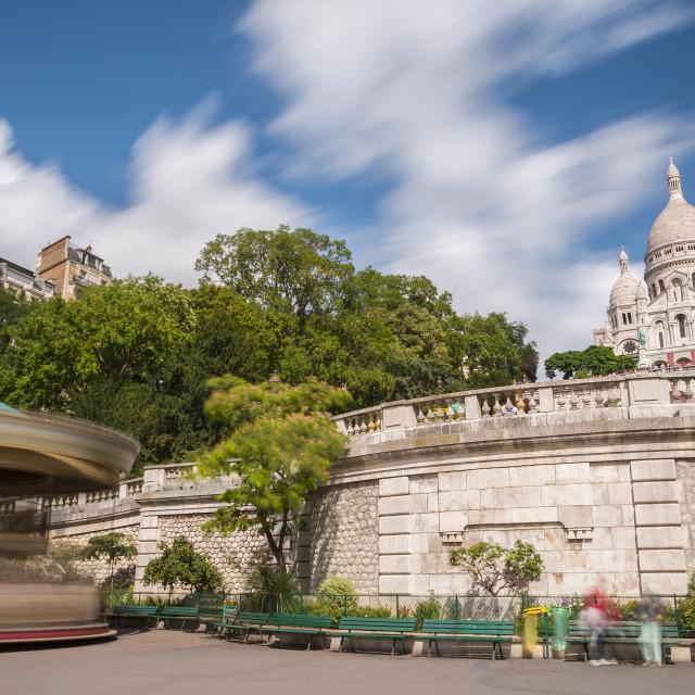 """""""Sacre Coeur Basilica and carousel"""" stock image"""