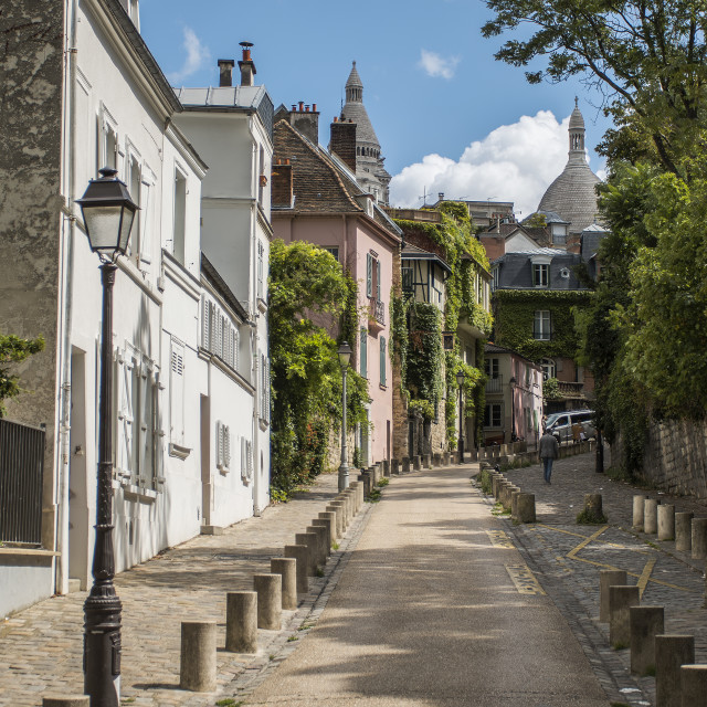 """""""View of old street in Montmartre in Paris, France"""" stock image"""