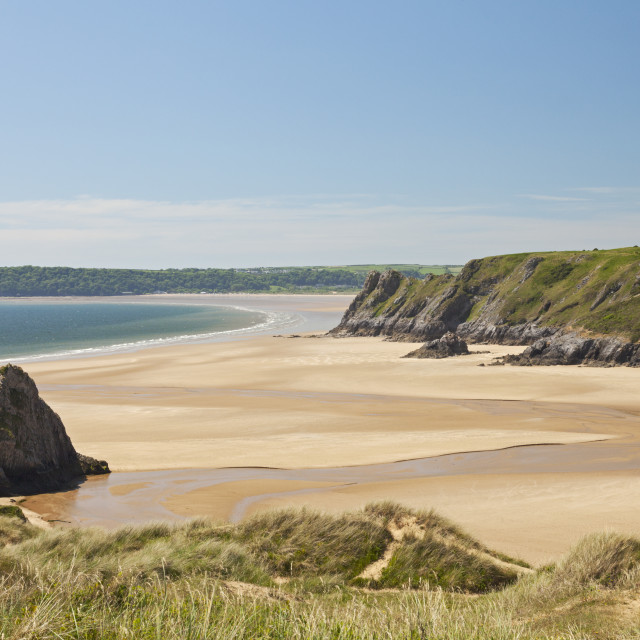 """Three Cliffs Bay, Gower Peninsula, Swansea, South Wales, UK"" stock image"