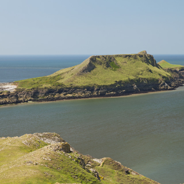 """Worm's Head and causeway, Rhossili, Gower Peninsula, Swansea, South Wales, UK"" stock image"