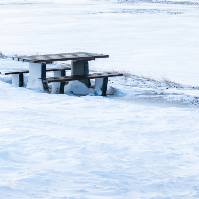 """""""Picnic table, Magerøya, Norway"""" stock image"""