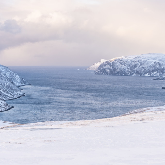 """""""Fjord on Magerøya Island, Finnmark, Norway"""" stock image"""