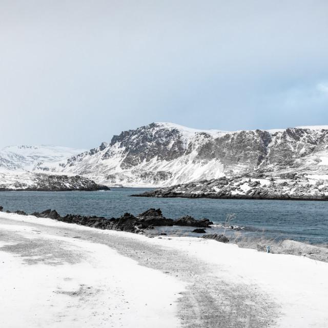 """""""Risfjorden, Kamøyvær, Finnmark, Norway"""" stock image"""