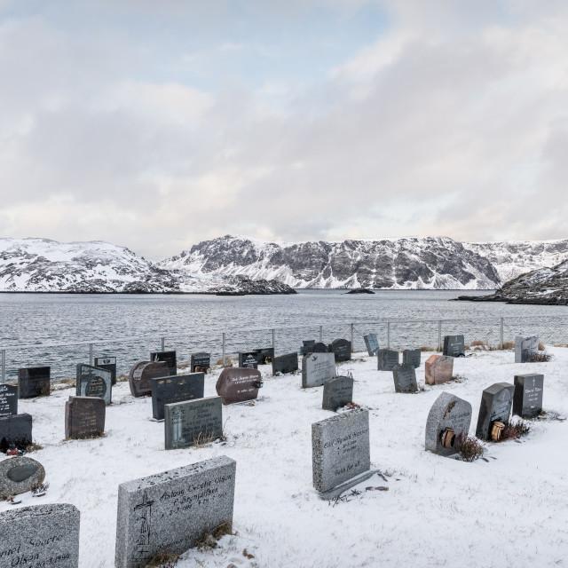 """Cemetery, Kamøyvær, Finnmark, Norway"" stock image"