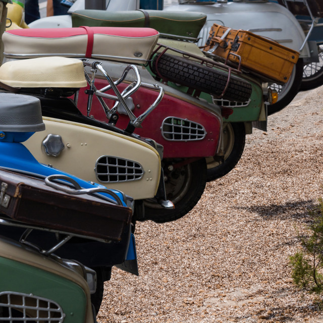 """Various vintage scooters"" stock image"
