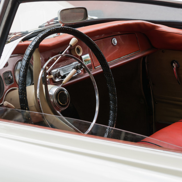 """Interior view of vintage car"" stock image"