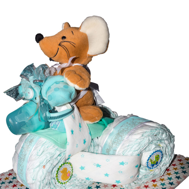 """Diaper cake tricycle with pedals"" stock image"