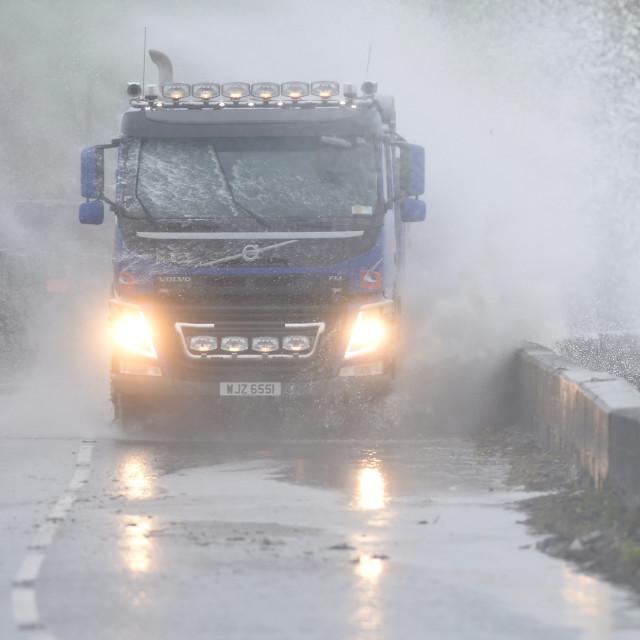 """Storm Gareth, Portaferry Road Flooding"" stock image"