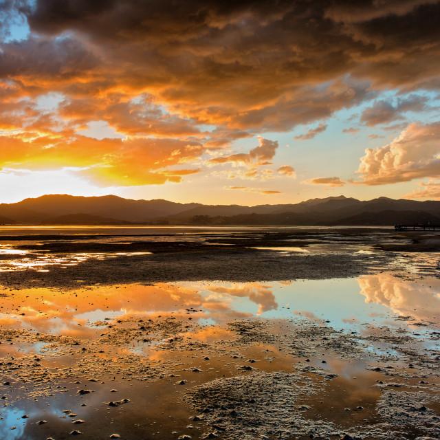 """""""golden hour at Matarangi"""" stock image"""