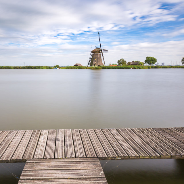 """Old Dutch traditional windmill located at Rottemeren"" stock image"