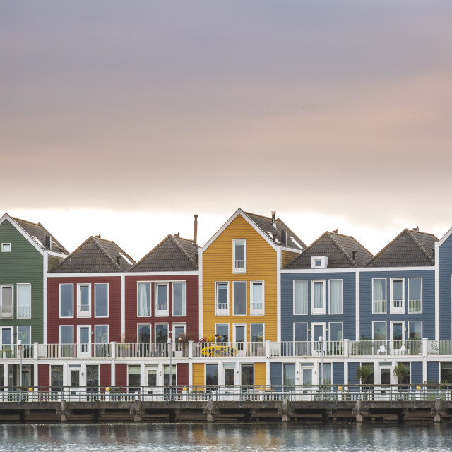 """Dutch, modern, colorful vinex architecture style houses at waterside"" stock image"