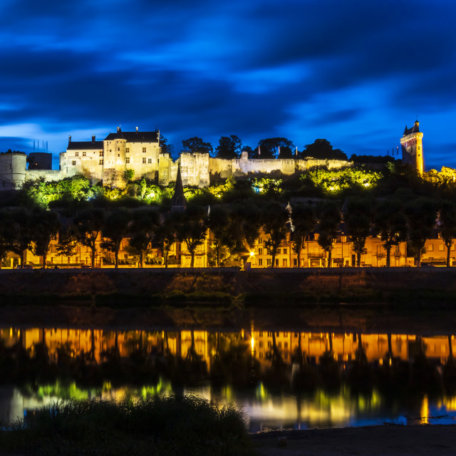 """Chinon town France during the blue hour"" stock image"