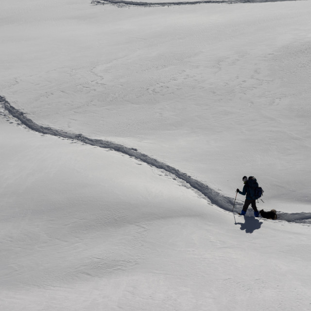 """People Trekking in the Snow"" stock image"